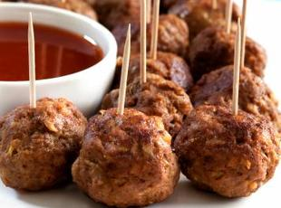 Party Sausage Cheese Balls w / bbq dipping sauce