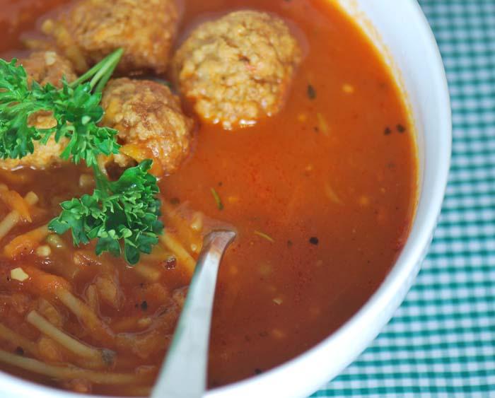 Spaghetti & Meatball Soup | Free Recipe Network