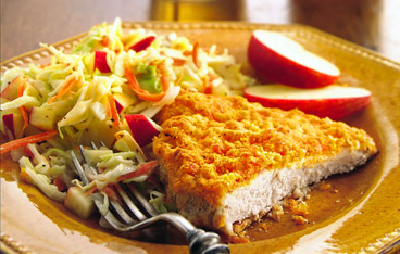 Oven-Fried Pork Cutlets with Apple Slaw Recipe