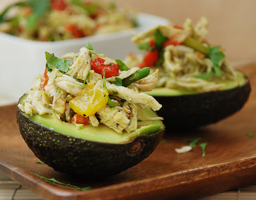 Chicken Salad with Roasted Bell Peppers in Avocado Cups