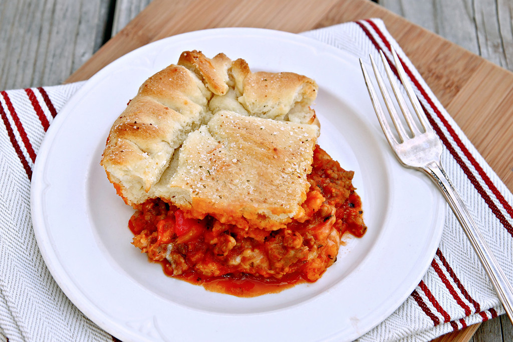 Upside Down Pizza Casserole with Breadstick Crust