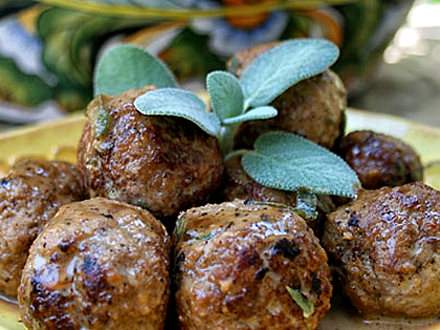 Sage and Bacon Meatballs with Buttermilk Gravy