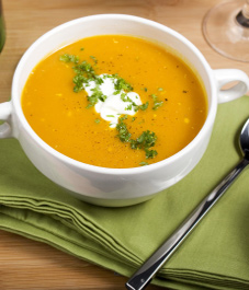 Caramelized Sweet Potato Soup with Maple Syrup