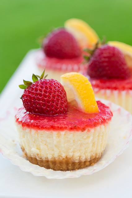 Mini Strawberry & Lemon Cheesecakes