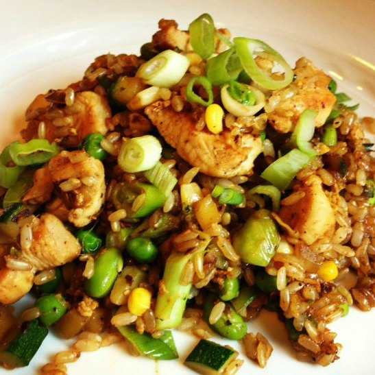 Brown fried rice with chicken and vegetables free recipe network brown fried rice with chicken and vegetables forumfinder Gallery