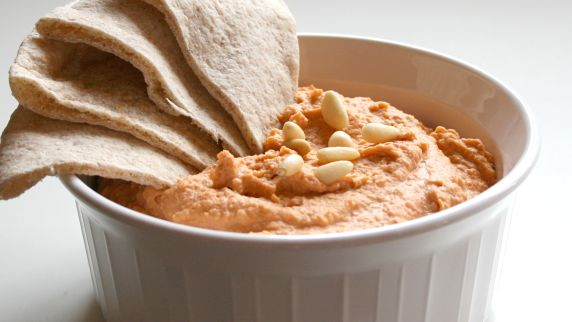 Roasted Red Pepper Pepper Hummus with Pine Nuts
