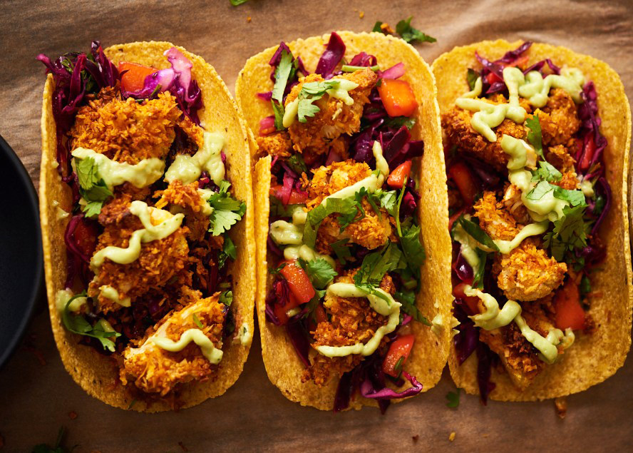 Coconut-Crusted Cauliflower Tacos