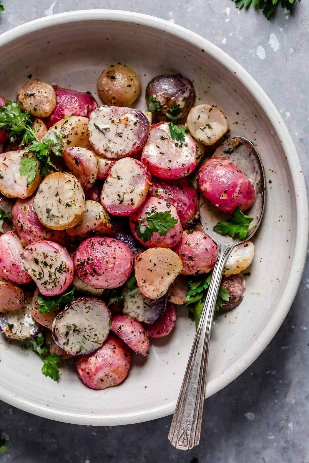 Garlic Roasted Radishes